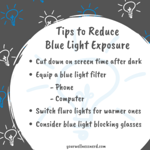 infographic showing 4 tips to reduce blue light exposure