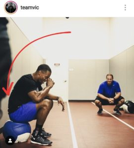 NFL player victor cruz sitting with a hinge in his lower back linked with knee tendonitis