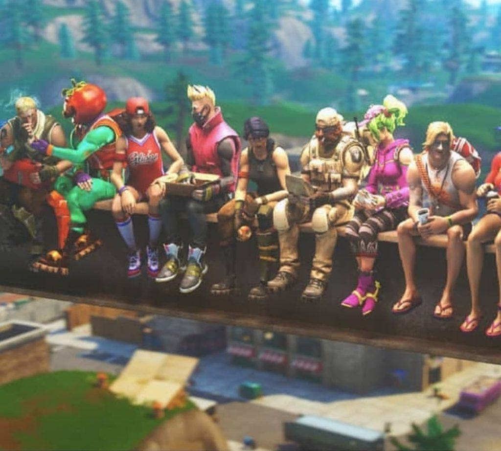 Fortnite skins sitting and slouching