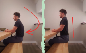 physiotherapist with poor sitting posture on left and good sitting posture on right