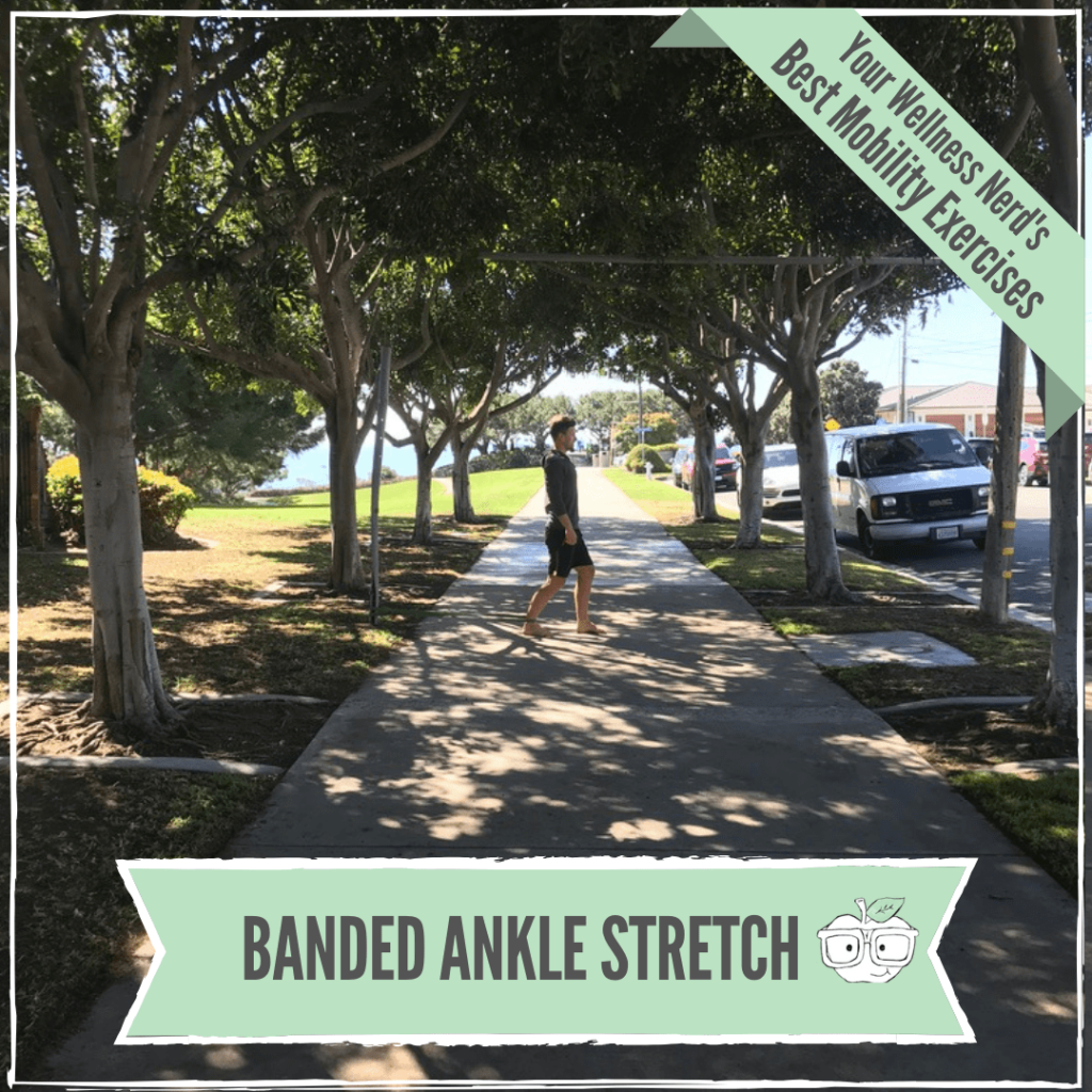 banded ankle stretch for a stiff ankle