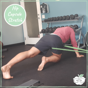 power band hip joint capsule stretch